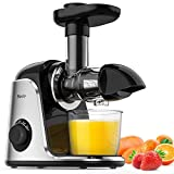 Slow Juicer Machines, Sboly Masticating Juicer Extractor with 2 Speed Modes & Reverse Function, BPA-Free Cold Press Juicer with Quiet Motor, Includes Cleaning Brush & Recipes for Vegetables and Fruits