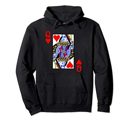 Spielkarte Herz Königin Queen der Herzen Karneval Kostüm Pullover Hoodie