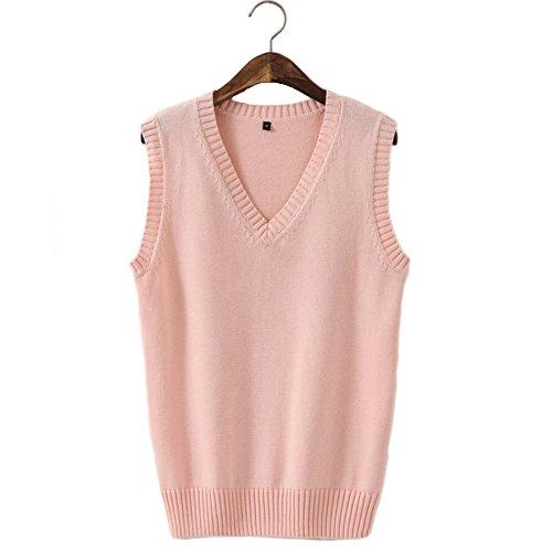 Men Women Knitted Cotton V-Neck Vest JK Uniform Pullover Sleeveless Sweater School Cardigan Pink