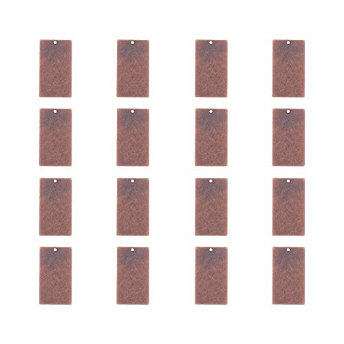 PandaHall Elite & reg Metall Tags, Messing Blank Stamping Tag Anhänger, Rechteck, Red Copper, 32x18x0.5mm, Loch: 1mm