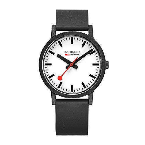 Mondaine Essence, Schwarze vegane nachhaltige Uhr für Herren und Damen, MS1.41110.RB, 41 MM.
