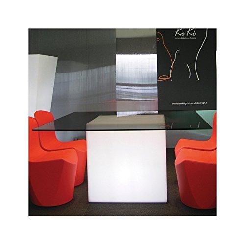 Cube LED Lumineux siège Pouf Lumineux Table d'appoint avec éclairage 60 cm