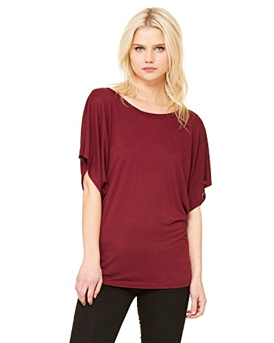 By Bella + Canvas Ladies Flowy Draped Sleeve Dolman T-Shirt - Maroon - S - (Style # 8821 - Original Label)