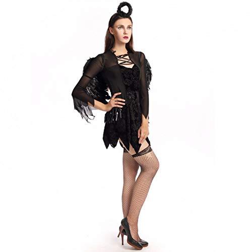 GBYAY Disfraz de Halloween Adutl Black Angel Cosplay Fantasy Party Dress con Wing Lady Festival Fancy Size