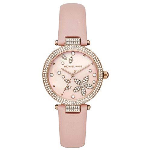 Michael Kors MK6808 Uhr Damenuhr Lederarmband vergoldet 5 bar Analog rosa