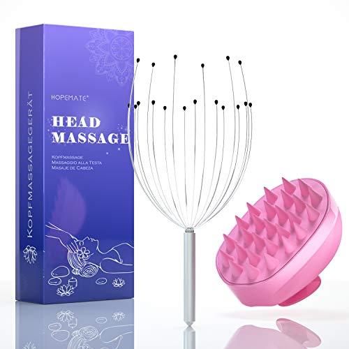 Kopfmassage Spinne und Dusche Bürste 2 in 1, Kopfmassagegerät mit 18 Fühler für Perfekte Entspannung, Kopfkrauler Bürste für alle Haartypen, Verbessert die Durchblutung für Herren Damen