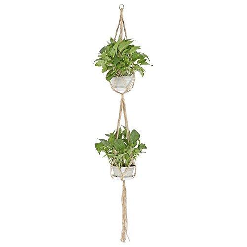 lulalula à 2 étages pour plantes Cintre, intérieur ou extérieur à suspendre Pot de fleurs Pot de panier de fleurs support Corde en coton – 4 pieds 170,2 cm (Pot non inclus), Jute, jaune, 67''''
