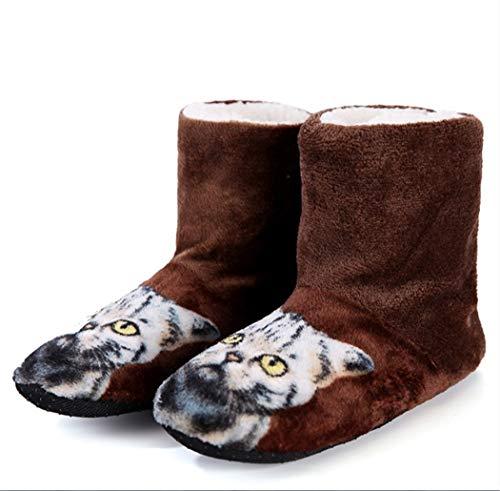 Pantofole da Donna con Stampa di Gatti 3D Carino Pantofole Invernali Calde Spesse da Spiaggia Casa Coperta in Peluche con Scarpe Brown 37