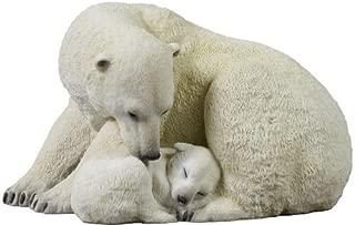 7.75 Inch Polar Bear Cub Cuddling with Mother Statue Figurine, White