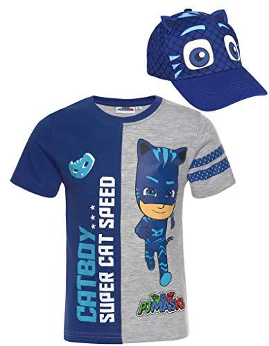 PJ MAASK T-shirt blauw + Cap Bundle jongens set Cappy Catboy blauw de pyjamahelden kinderen maat 98 104 110 116 128