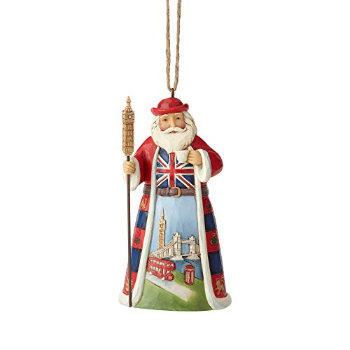 Enesco Jim Shore Heartwood Creek British Santa Hanging Ornament, 4.5', Multicolor