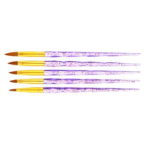 SM SunniMix Set 5 Pinceaux Peinture Professionnels Détail Stylo Pour Acrylique Huile Aquarelle Nail Art Brosse
