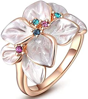 Roxi ring white rose with colored crystals
