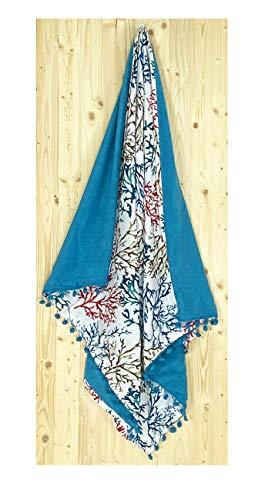 Tex family Kikoo - Toalla de playa doble de algodón y rizo con mochila Keep