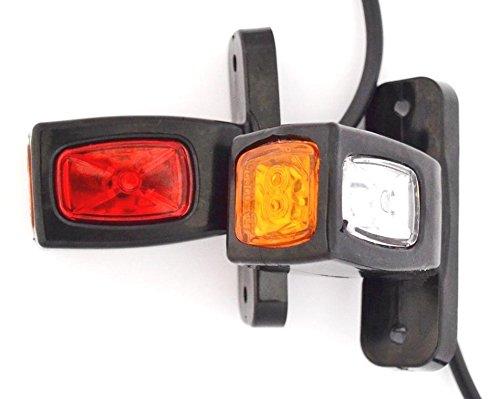 Lot de 2 marqueurs Contour côté arrière LED 24 V 12 V Châssis Van Camion Remorque Caravane Camping-Car Orange Blanc Rouge