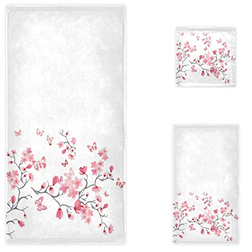 Naanle Beautiful Cherry Blossoms Flowers Butterfly Soft Luxury Set of 3 Towels, 1 Bath Towel+1 Hand Towel+1 Washcloth, Multipurpose for Bathroom, Hotel, Gym, Spa and Beach(White)