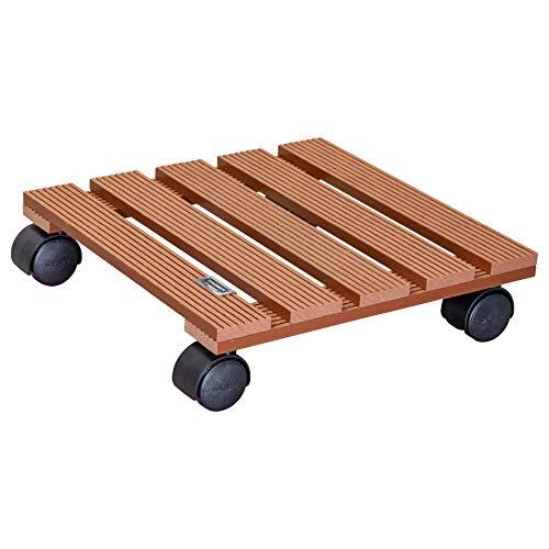 WAGNER Chariot de Plantes WPC 29 x 29 x 8,5 cm | Porte Plante pour intérieur + extérieur | Support Roulant pour Pot en Composite Bois-Plastique, Terracotta | Capacité de Charge 60 kg - 20051001