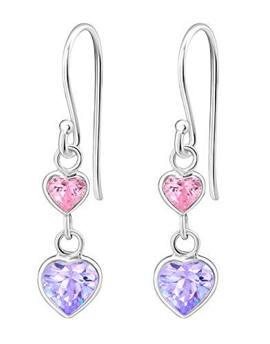 Hypoallergenic Sterling Silver Double Heart CZ Dangle...