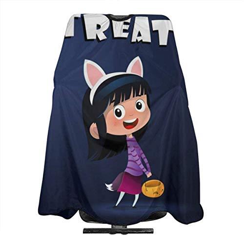 Glas Perilla Kleine Leuke Heks met Snoep Mand Halloween Gepersonaliseerde Aangepaste Profionale Haarsalon Apron, Polyester Haar Sjaal 55