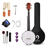 Vangoa 5 String Banjo MINI, Closed Solid Back with beginner Kit, Tuner, Strap, Pick-up, Extra Strings, Picks Allen Key, Bracket Wrench and Bag