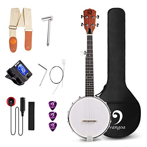 Vangoa MINI Banjo 5 String Solid Back cerrado con kit para principiantes, sintonizador, correa, Pick Up, Strings, Picks, bolsa de transporte y llave