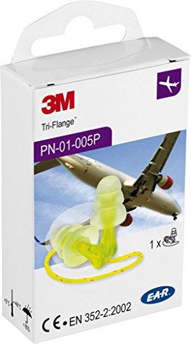 3M E-A-R Tri-Flange Tapones de protección, 29 dB con cordón de plástico, 400 Pares/caja, PN-01-005