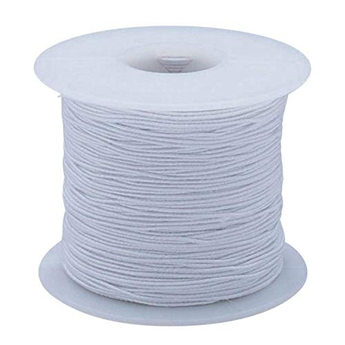 Louise Maelys 1mm 100 Yards White Beading Elastic Cord for Bracelet Necklace Craft DIY Beading Threads 1 Roll