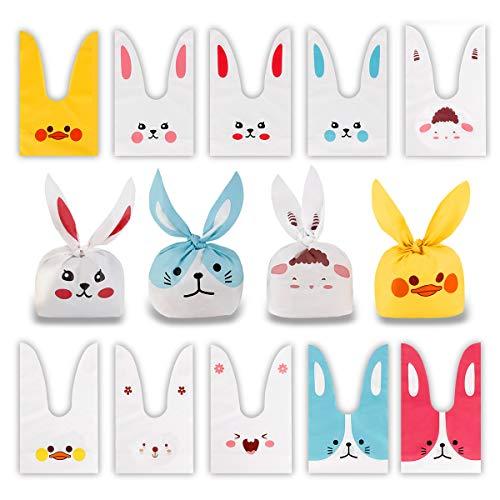 60PCS Sacchetti Compleanno, Sacchetto per Caramella Confetti Borsa di Regalo Sacchetto Coniglietto di Forma del Coniglio Sacchetti di Biscotto