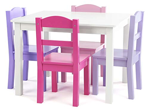 Humble Crew Tot Tutors Wood Table & 4 Chairs Set-White, Pink, Purple Forever Collection