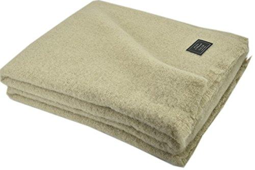 Mohair - Manta ligera de lana pura para cama de matrimonio y individual, cálida y natural, beige, individual