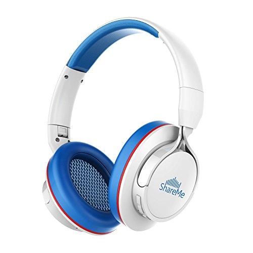 Advanced ShareMe Tech Auriculares Bluetooth con Micrófono Hi-Fi Deep Bass Auriculares Inalámbricos Sobre El Oído, Almohadillas de Protección Cómodo, 18 Horas Playtime Para Viaje -Azul y Blanco