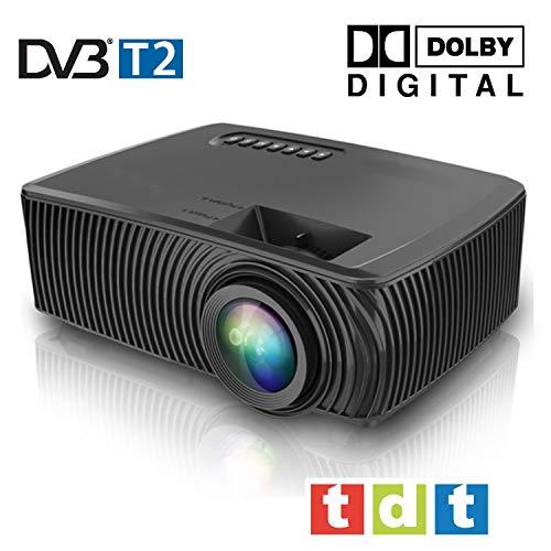 Full HD 1080P Projektor, SEELUMEN 2020 Neuer PW100-S, maximale Helligkeit transporttasche LED-Billig-LCD-Beamer mit DVB-T-Tuner HDMI-USB-Unterstützung MKV AC3 für PS4, XBOX, Switch (SCHWARZ)