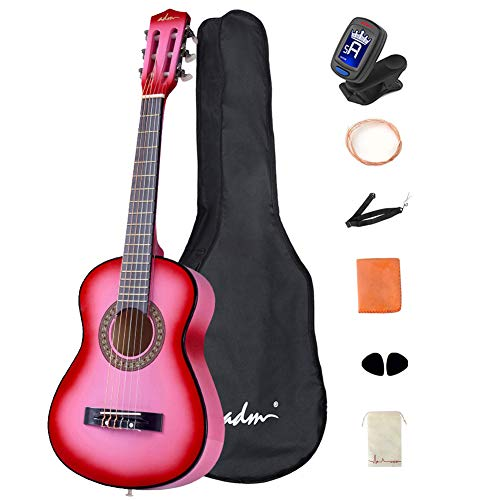 ADM Beginner Acoustic Classical Guitar 30 Inch Nylon Strings Wooden Guitar Bundle Kit with Carrying Bag & Accessories, Pink