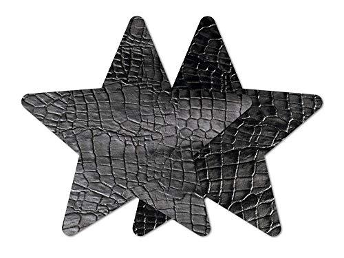 Nippies Re-Style Black Crocodile Reusable Star Self Adhesive Nipple Cover Pasties