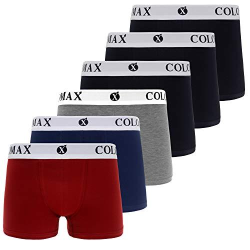 COLOMAX Herren Boxershorts Unterhosen Unterwäsche Baumwolle S-M-L-XL-XXL 6er Set (XXL, 3X Schwarz / 1x Blau / 1x Rot / 1x Grau (Weiß))