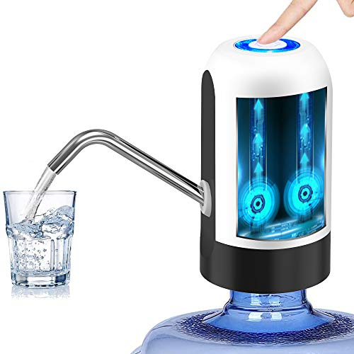 Water Bottle Pump 5 Gallon Water Bottle Dispenser USB Charging Automatic Drinking Water Pump Portable Electric Water Dispenser Water Bottle Switch (White)