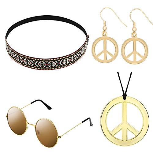 Yigoo Ropa de los años 70, disfraz hippie para hombre y mujer, gafas de sol, signo de paz, collar y pendientes con símbolo de la paz, así como diadema bohemia.