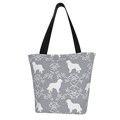 Personalisierte Leinen-Tragetasche, Berner Sennenhund, Blumen-Silhouette, grau, waschbare Handtasche, Umhängetasche, Einkaufstasche für Frauen