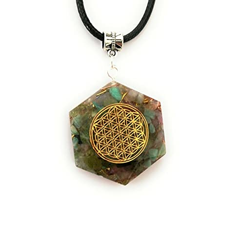 Orgonita Flor de la vida Colgante Orgone Cuarzo Collar turmalina Protección Amuleto Estrella de David