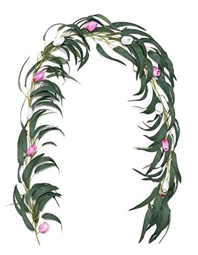 Houele Artificial Eucalyptus Willow Garland Hand Crafted Flower Tulip Garland Leaves Willow Leaves Vines for Home Table Runner Wedding Decor 6.8 FT