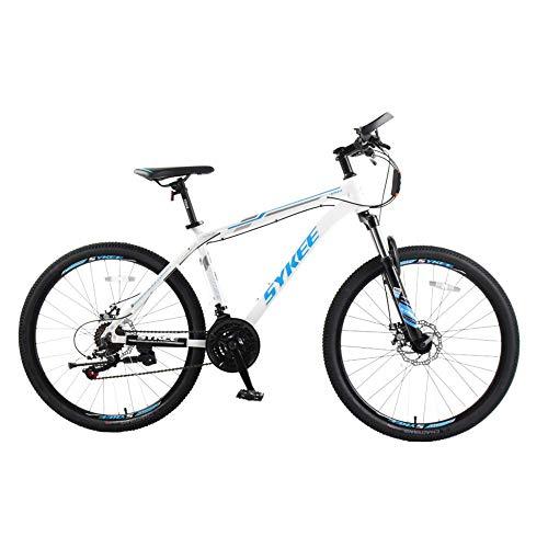 Mountain bike 26 pollici, bici da uomo in lega di alluminio ammortizzato, fuoristrada a 21 velocità, sospensione per mountain bike con sospensione completa, freno a disco, forcella ammortizzata (blu)