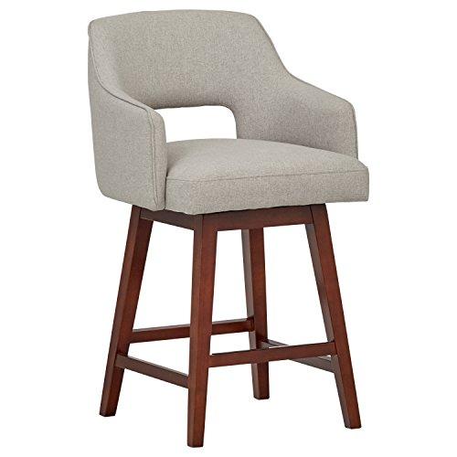 Marca Amazon -Rivet Malida - Taburete de cocina con asiento giratorio y respaldo abierto estilo Mid-century, 94 cm de alto (gris fieltro)