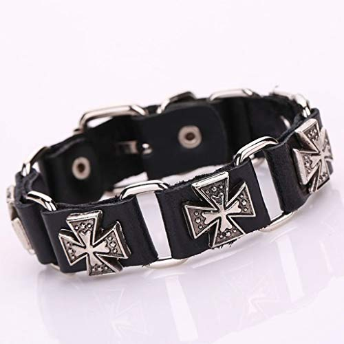 YO-HAPPY bracelet, Men's Punk Adjustable Leather Strap Bracelet Metal Cross Cuff Bangle Wristband