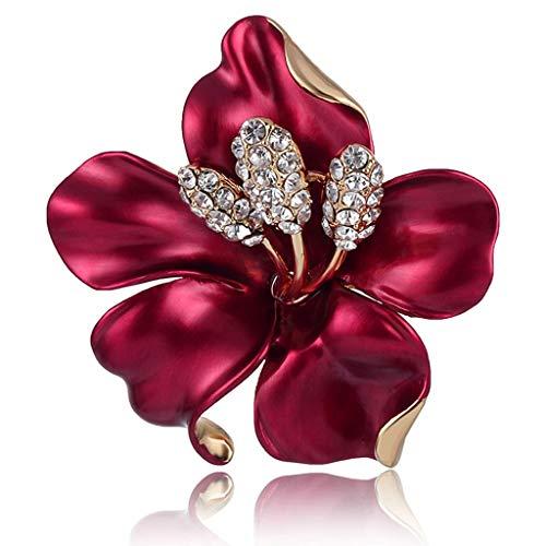 LSJT Camellia Bloem Broche Vrouwelijke Ins Getij Persoonlijkheid Sfeer Eenvoudige High-end Wijn Rode Pin Broche Accessoires Inlaid Zircon Om Moeder Geschenken Stuur