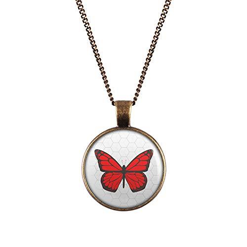 Mylery Halskette mit Motiv Schmetterling Rot Bronze 28mm