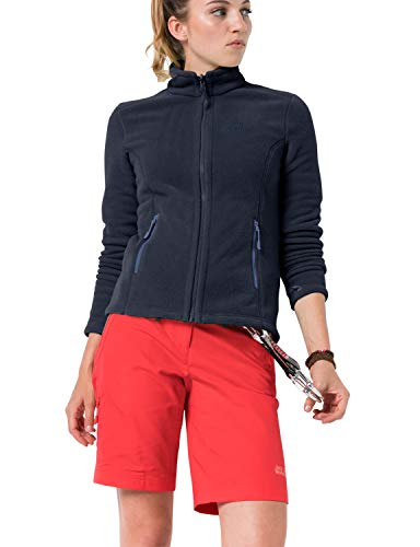 Jack Wolfskin Damen W Moonrise JKT Klassisch Robust Systemreißverschluss Outdoor Fleecejacke, Midnight blau, XXL