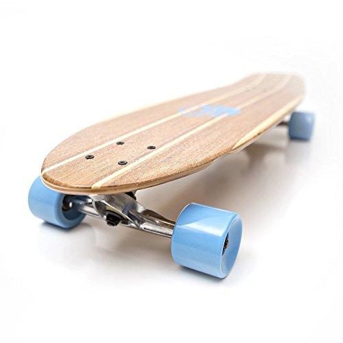 White Wave Bamboo Longboard Skateboard Complete (Rocket)