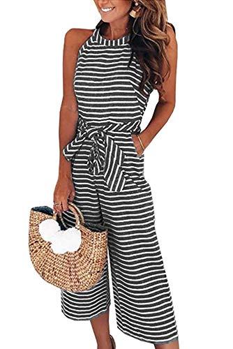 emmarcon Tuta Tutina Estiva Lunga Casual a Righe Vestito Donna da Spiaggia con Tasche Senza...