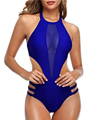 High neck style with halter straps that tie at neck and hook closure at center back, removable padded push up bra for support and shaping. Sexy plunge mesh patchwork bust area matching with cutout and strap at waist design makes the swimsuit super fl...
