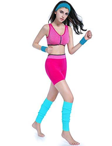 KIMBERLY S KNIT Women 80s Neon Pink Running Headband Wristbands Leg Warmers Set (Free, LakeBlue)